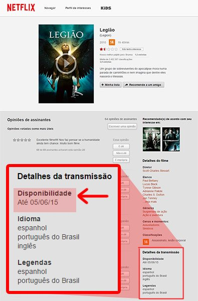 "Exemplo do filme ""Legião"" no site da Netflix"