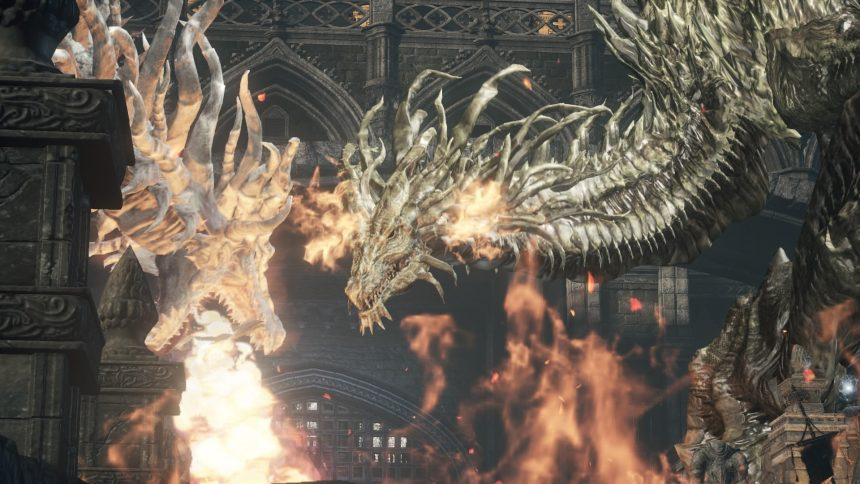 Dark Souls 3 mais dragçoes cuspindo fire